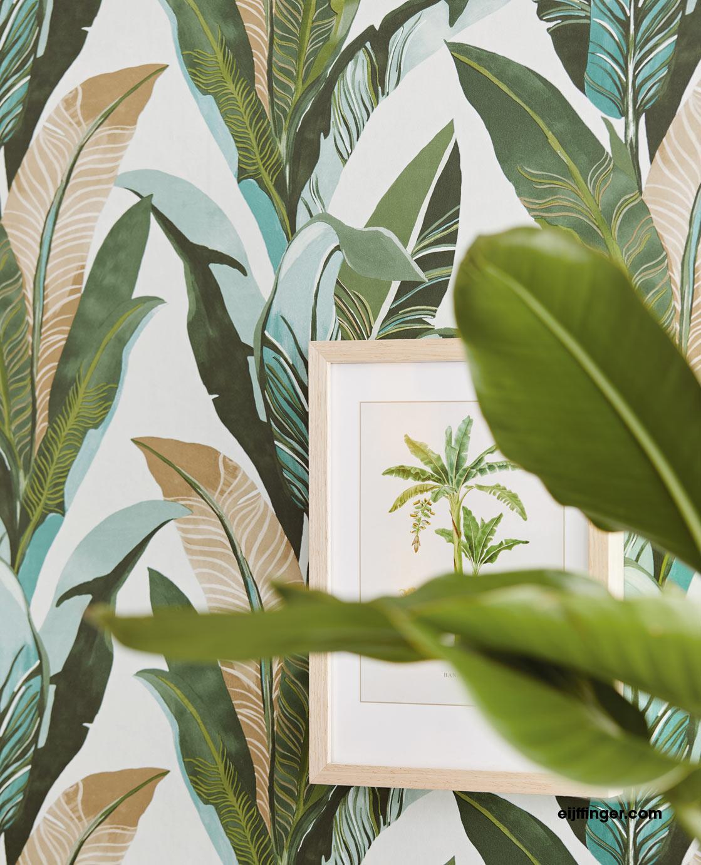 palmen tapeten tapete palmenbl tter palmenmuster dschungel. Black Bedroom Furniture Sets. Home Design Ideas